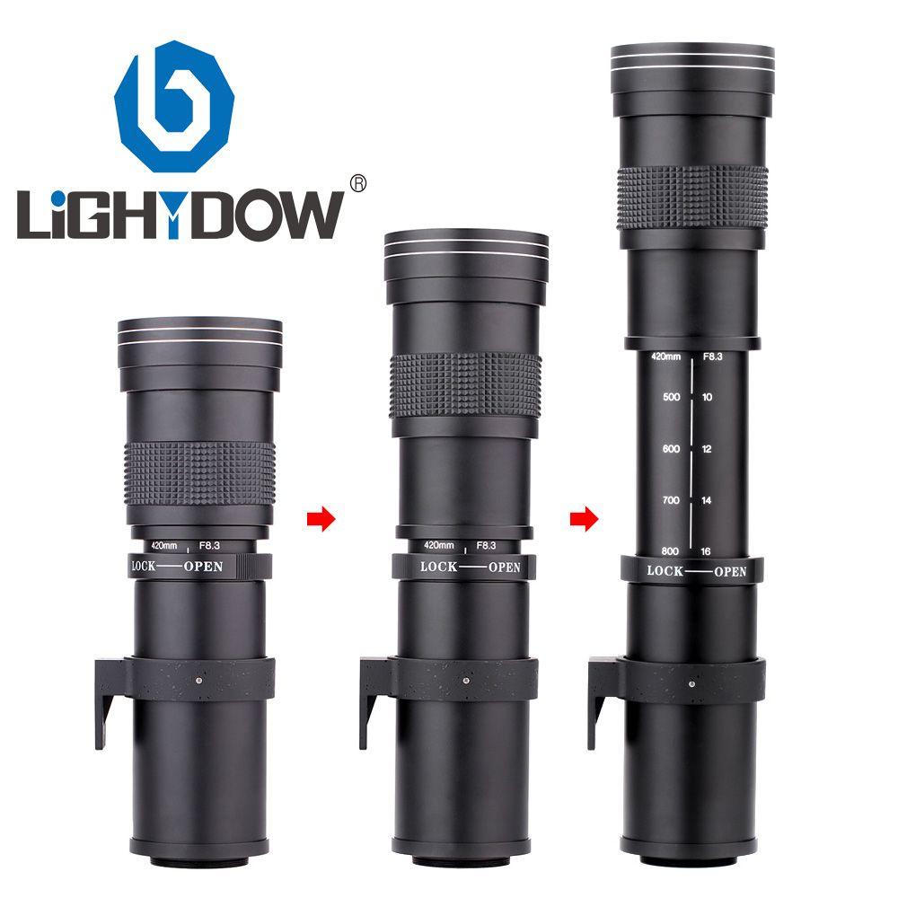 Lightdow 420-800mm F/8.3-16 Super téléobjectif Zoom manuel + bague adaptateur T2 pour Canon EOS Nikon Sony Pentax appareils photo reflex numériques