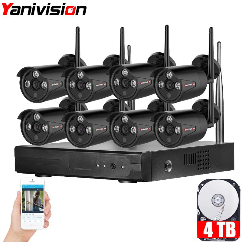 Yanivision Plug & Play 8CH NVR Wireless CCTV System 720P HD H.264 IP66 Mini Home Security Video WIFI IP Camera Surveillance Kit
