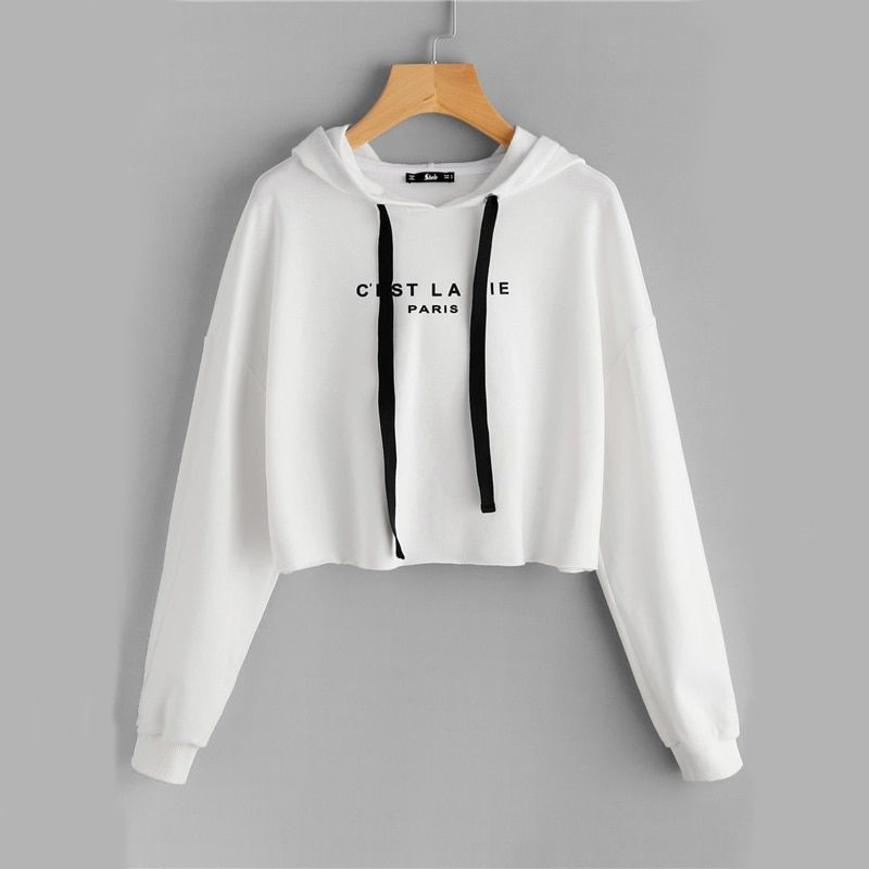 Women's White Drop Shoulder Raw Hem Crop Hoodie Letter Print Long Sleeve Casual Pullovers Sweatshirt With cashmere