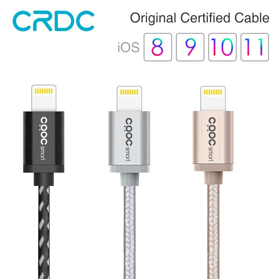 USB For iphone Cable CRDC MFi Lightning Cable For iPhone x 8 7 6 5 plus 120CM Nylon Braid Fast Charging Data Cable For iPad iPod