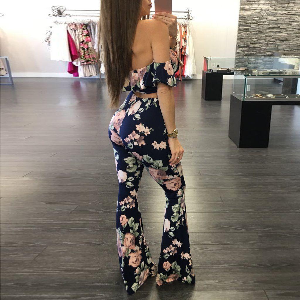 2017 moda mujer Bohemia hombro impreso floral sin tirantes crop top Pantalones dos piezas