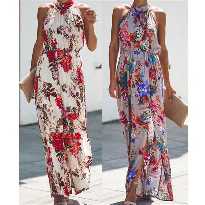 Womens Boho Long Maxi Dress Lady Evening Party Beach Dress Sundress Floral Sleeveless Long Dress