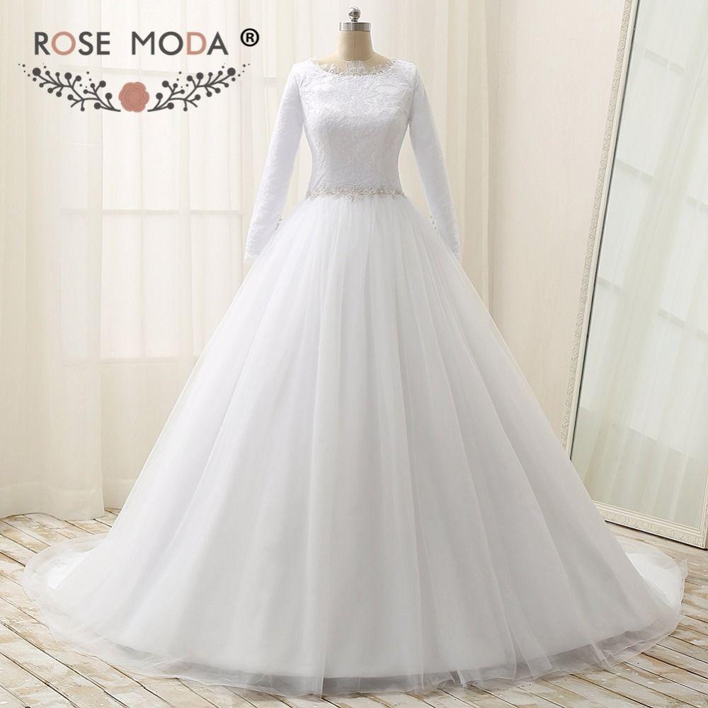 Rose Moda Mit Langen Ärmeln Muslim Brautkleider Kleid High Neck Spitze Brautkleider mit Kristall Schärpe Plus Größe Echt Fotos