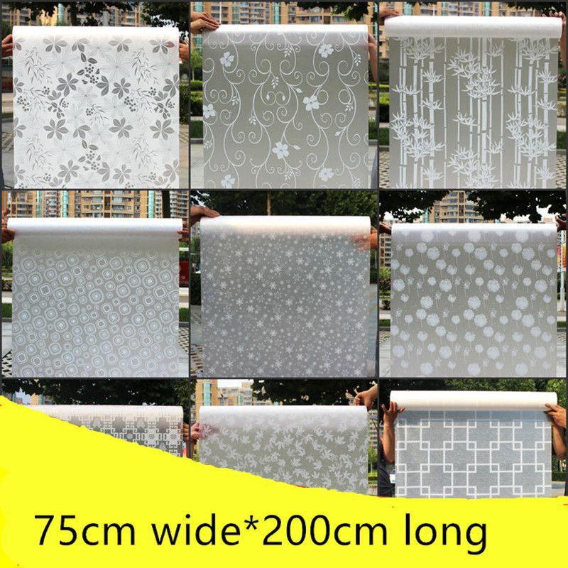 75 cm large * 200 cm auto-adhésif film en verre dépoli porte coulissante salle de bains wc imperméable translucide opaque fenêtre film