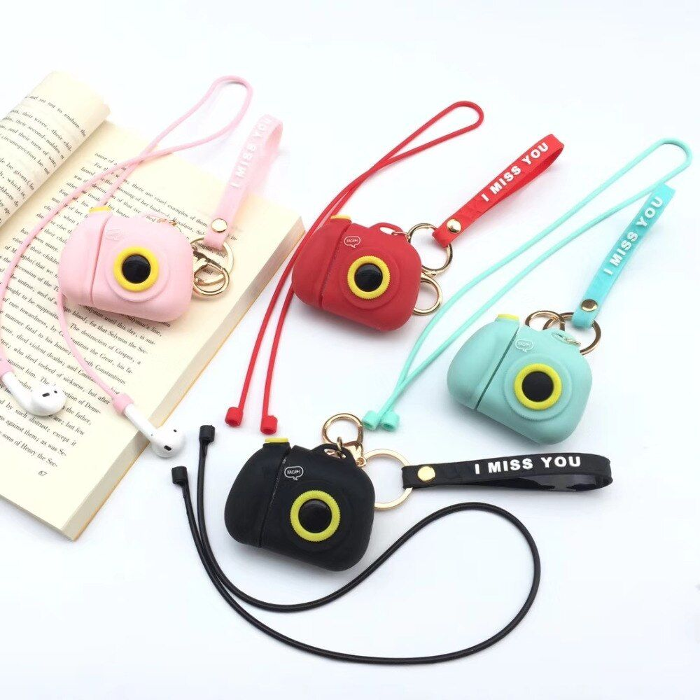 For Airpods Case Cute Cartoon Camera Silicone Bluetooth Wireless Earphone Case For Airpods Protect Cover Headphone Accessorie