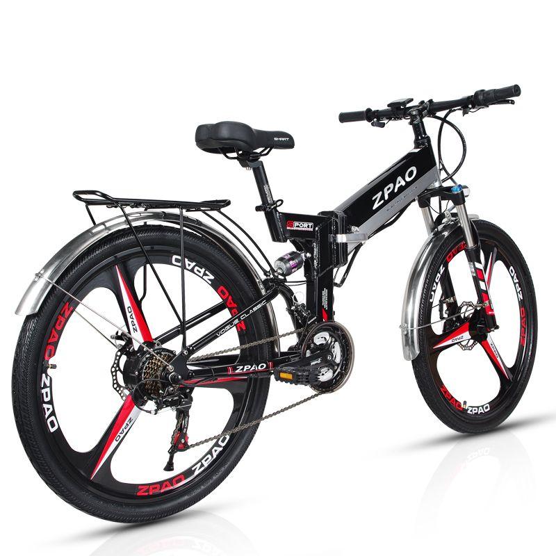 ZPAO 26 Inch Klapp Elektrische Fahrrad, 48 V 10.4Ah Lithium-Batterie, 350 W Mountainbike, 5 Grade Pedal Unterstützen, Suspension Gabel