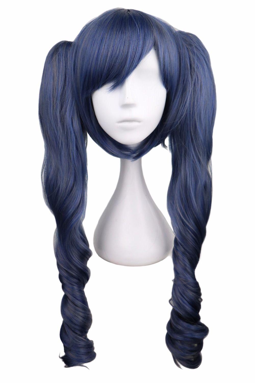 QQXCAIW longue ondulée Cosplay majordome noir mélangé bleu gris gris 70 Cm perruques de cheveux synthétiques