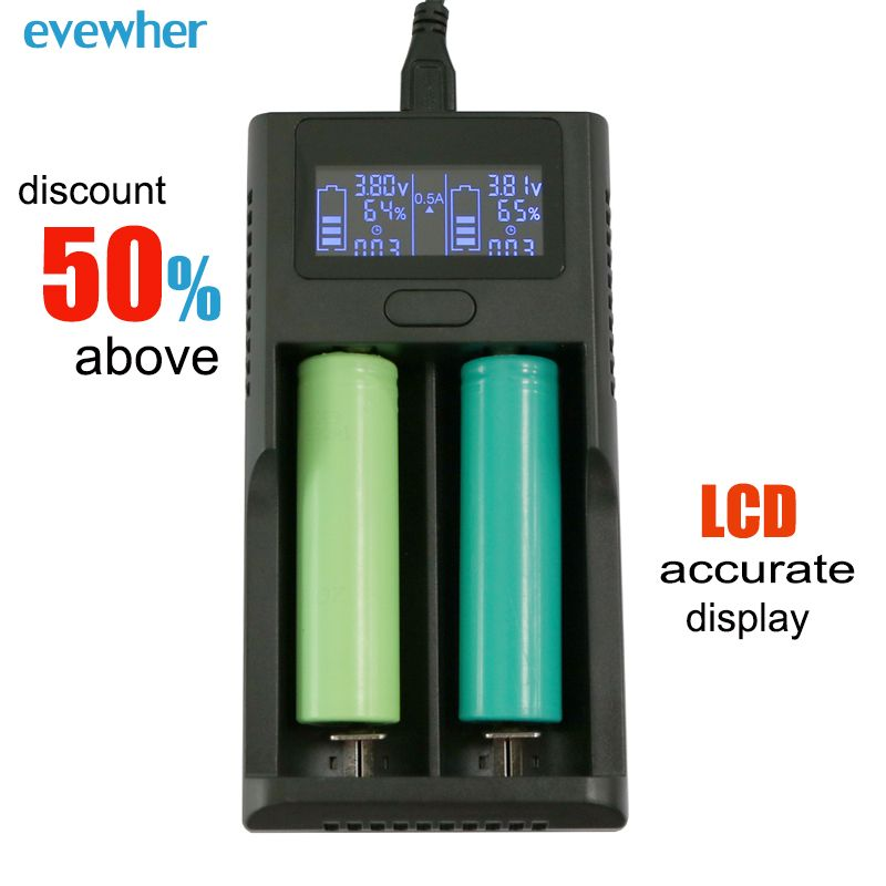 Evewher Universal Intelligent LCD 18650 14500 26650 Lithium Battery Charger DIY AA AAA Li-ion Batery Charge USB 2 Slot Charging
