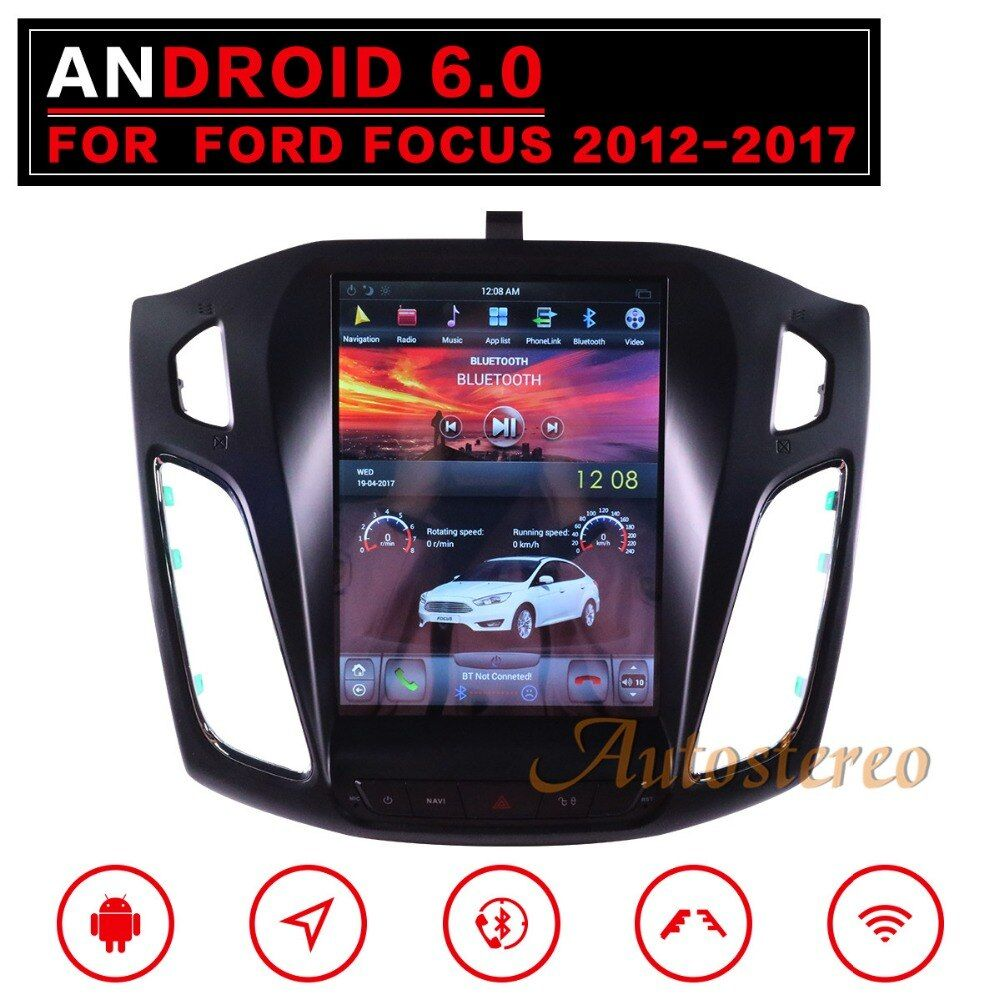 Tesla style Android 7 Big Screen Car No DVD Player GPS Navigation For Ford Focus 2012-2018 Auto navi stereo headunit multimedia