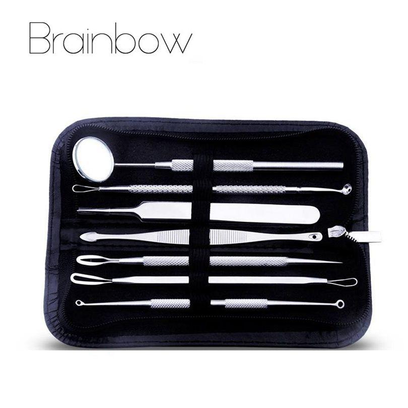 Brainbow 7 pièces/ensemble En Acier Inoxydable Aiguille Acné avec Sondes Miroir Bouton Noir Comédon Acné Extracteur Outils de Décapant