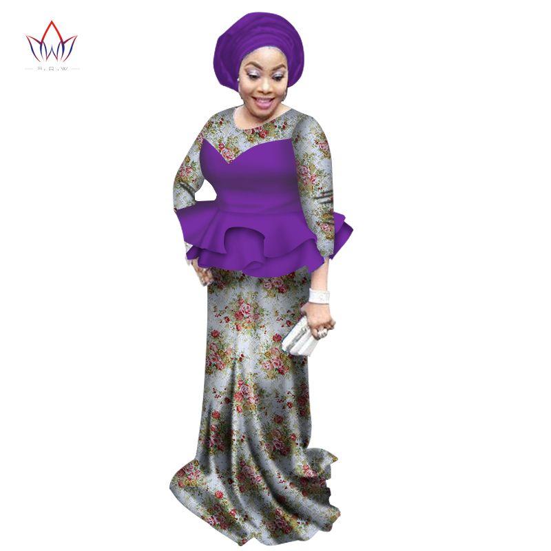 2017 mujeres vestido de verano vestidos para las mujeres de Diseño de Moda dashiki africano bazin riche del o-cuello largo vestido de encaje natural 6xl WY1773