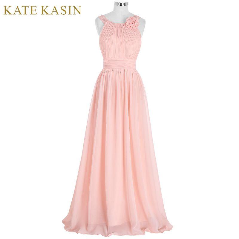 Elegante Rosa Brautjungfer Kleid Langen Chiffon Vestido de Festa de Casamento Strand Brautjungfer Kleider 2017 Hochzeit Formale Kleid