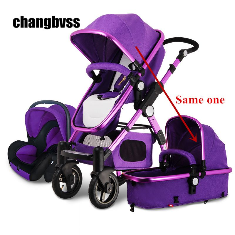 2016 New Arrival Brands Luxury Baby Stroller 3 in 1 High Landscape Kids Baby Pram with Car Seat poussettes 3 en 1 Free Shipping
