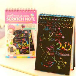 Scratch note Noir carton Creative DIY dessiner esquisse notes pour enfants jouet portable zakka matériel Escolar Fournitures Scolaires
