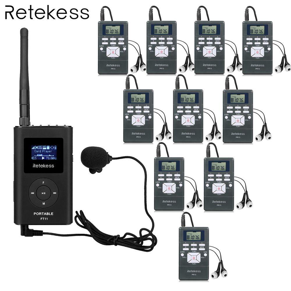 Retekess 1 FM Transmitter + 10 FM Radio Empfänger PR13 Wireless Tour Guide System für Führung Treffen Gleichzeitige Interpretation