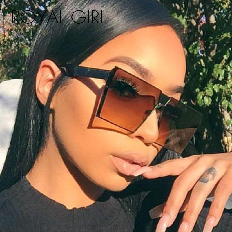 ROYAL FILLE 2017 Nouvelle Couleur Femmes lunettes de Soleil Unique Tendance Bouclier UV400 Gradient Vintage lunettes cadres pour Femmes # ss953
