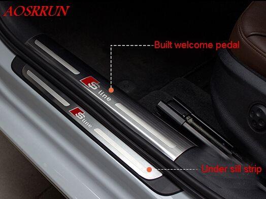 Hohe qualität externen pedal Abdeckung schwelle Edelstahl tür-schwellen-verschleiss-platte für audi A3 fließheck limousine styling