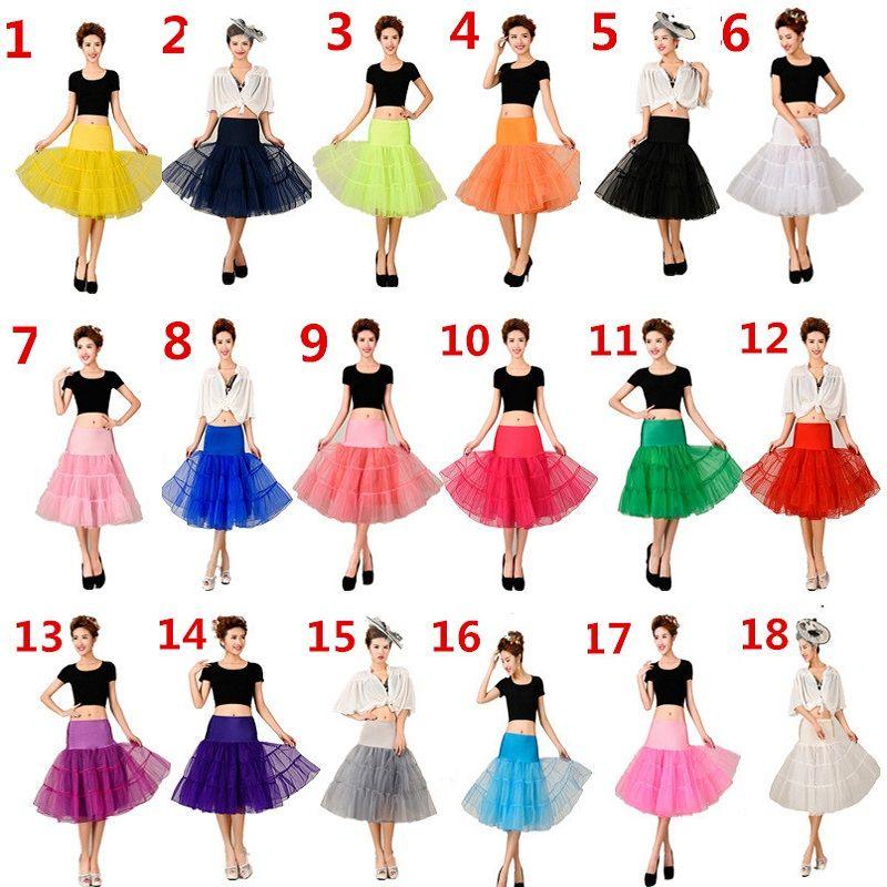 2017 Una Línea de Falda Corta de Colores Enagua Corta Longitud de La Rodilla de Tul De Novia Enagua Enaguas Para El Vestido de Boda de la venta Caliente