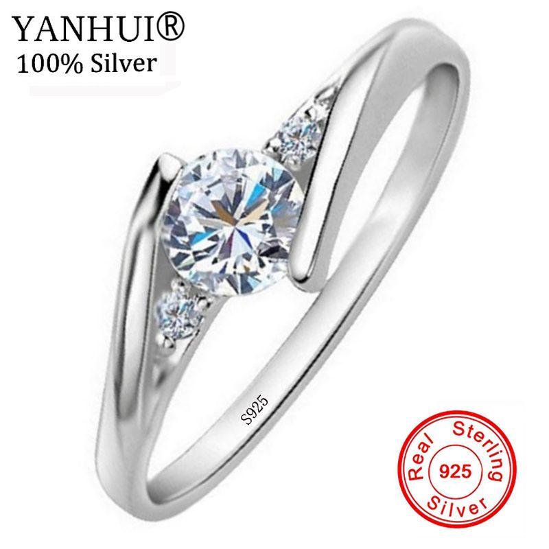 YANHUI 100% Original Solid 925 Silver Rings Bijoux 0.5 Carat Zirconia CZ Engagement Wedding Jewelry Rings Gift For Women JAR013