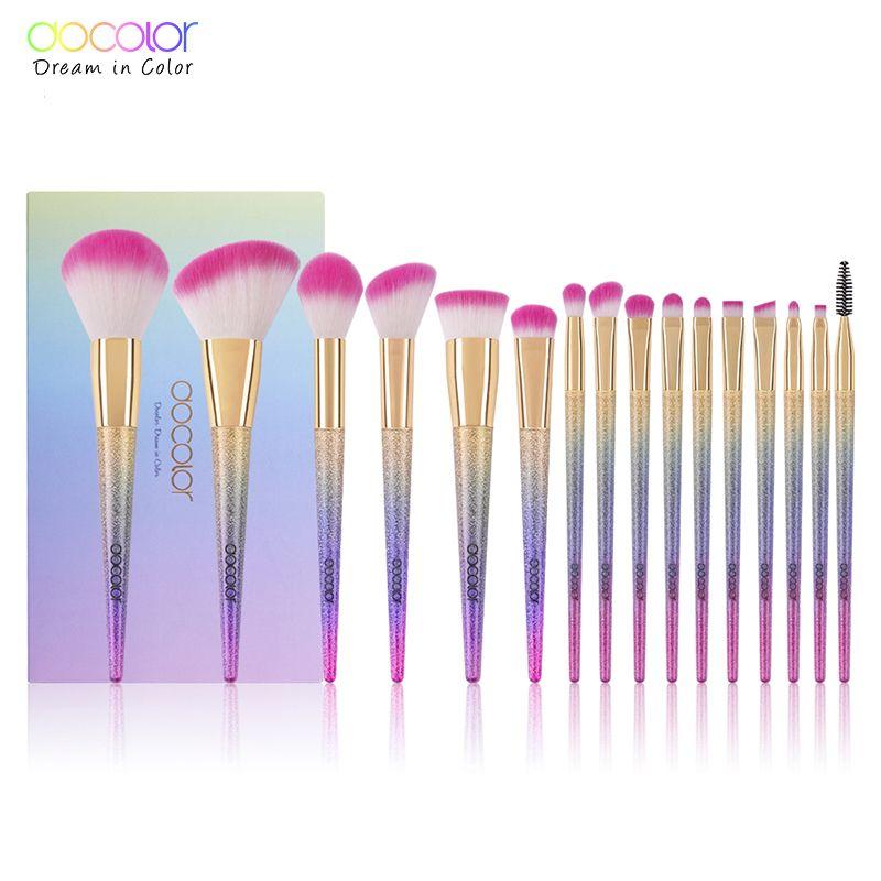 Docolor 16 pcs Professionnel Maquillage Brosses Fantasy brush Set Fondation Kits Fard À Paupières Poudre Gradient couleur maquillage brosse ensemble