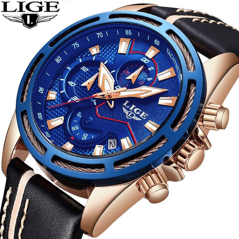 Männer Uhren LIGE Top Marke Luxus Mode Business Watch Männer Military Wasserdicht Chronograph Männlichen Sport Uhr Relogio Masculino