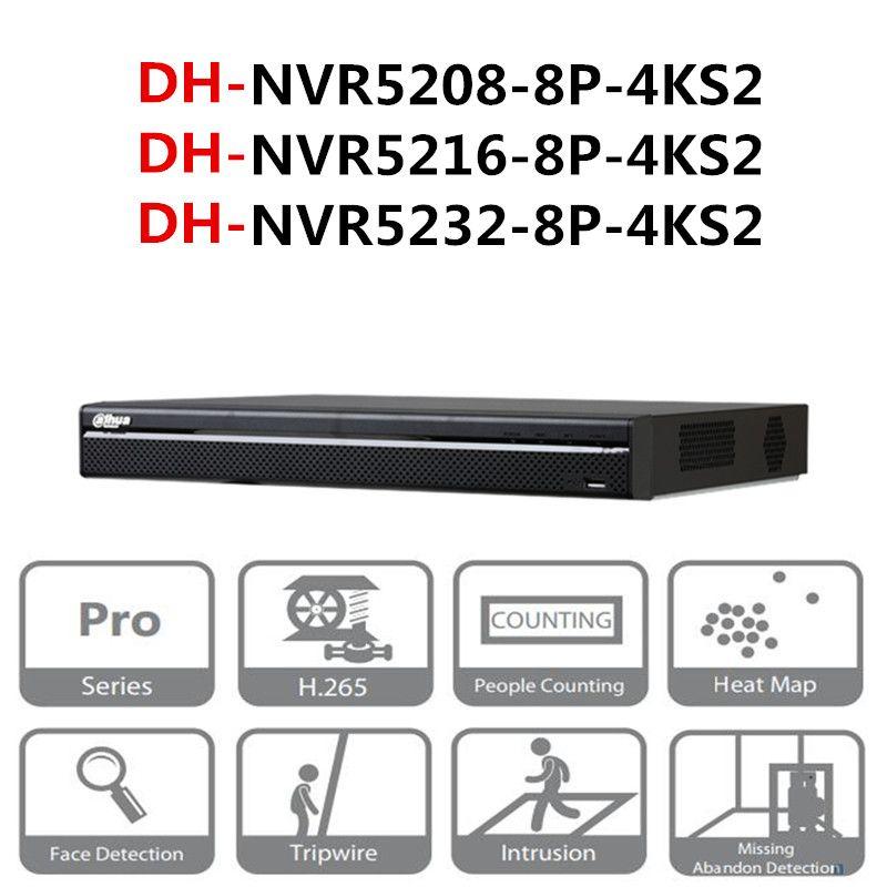 DH POE NVR NVR5208-8P-4KS2 NVR5216-8P-4KS2 NVR5232-8P-4KS2 8/16/32 CH 8 PoE 4 karat & H.265 Pro Netzwerk video Recorder