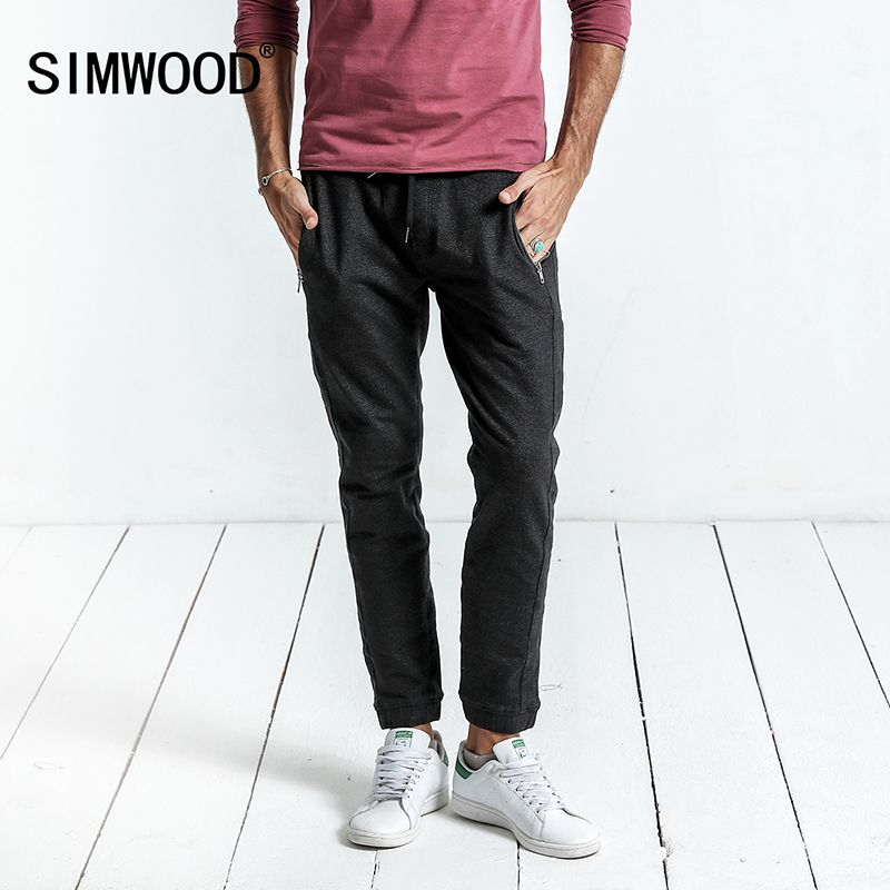 SIMWOOD 2018 Spring New Casual Pants Men Drawstring Joggers Sweatpants Trousers Plus Size High Quality Brand Clothing WC017002
