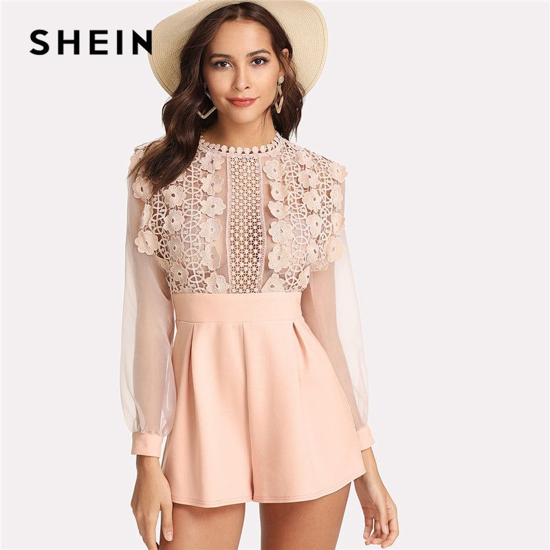 SHEIN Pink Pastel Floral Lace Rompers Womens Jumpsuit Sexy Jumpsuits High Waist <font><b>Wide</b></font> Leg Applique See Through Bodice Romper