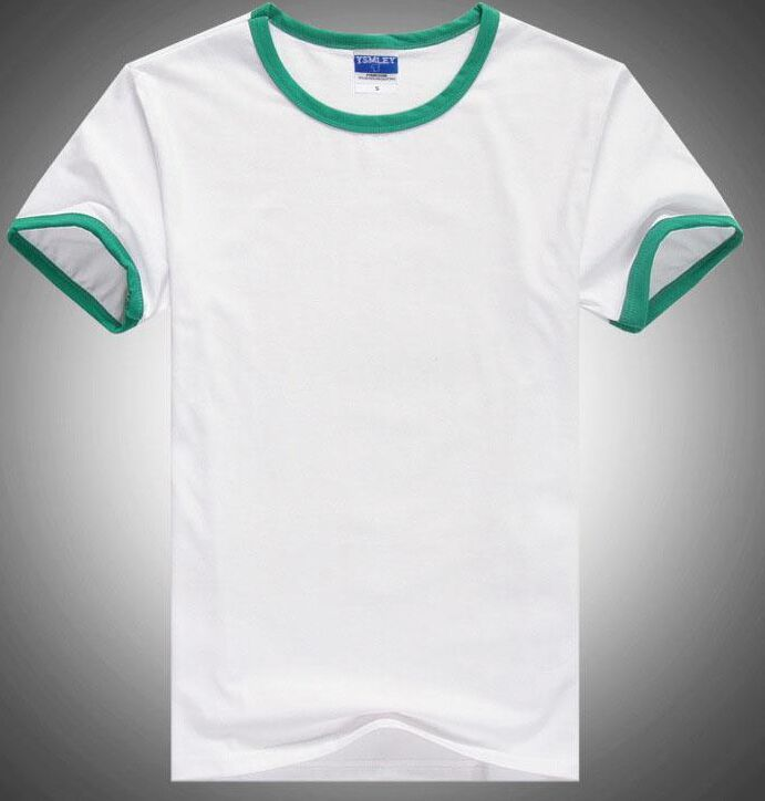 Final fonts Simple White Men Shirts with Green Sleeve <font><b>Wide</b></font> Brand YSMILE Y 100% Cotton U Collar Ora#15 Quality Fasion 2018