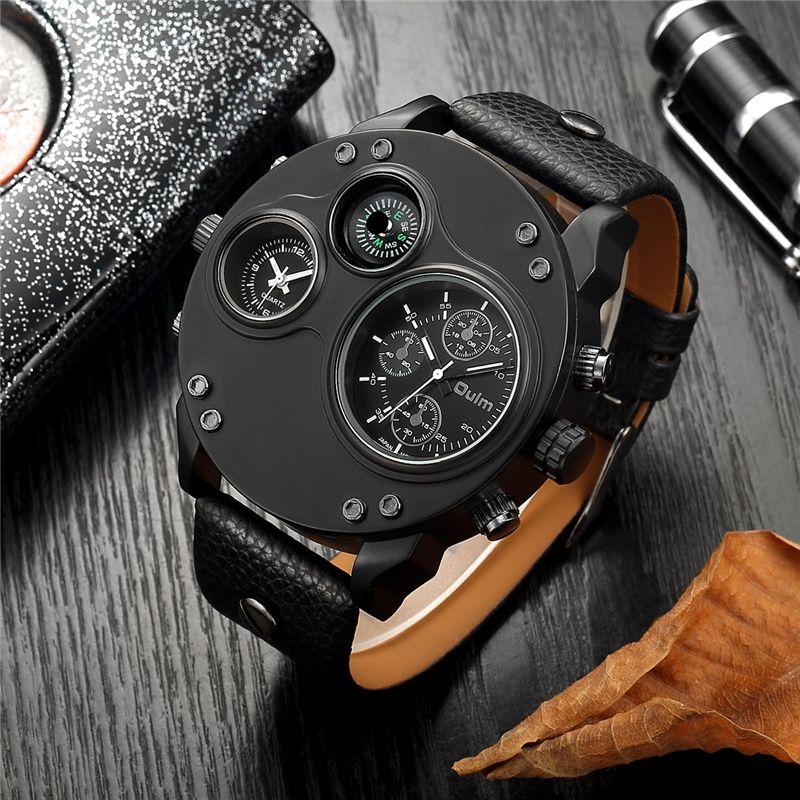Oulm Unique Sport Watches Men Luxury Brand Two Time Zone Wristwatch Decorative Compass Male Quartz Watch relogio masculino