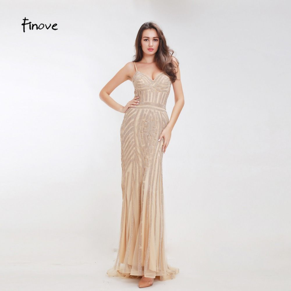 Finove Champagne Evening Dresses 2018 Elegant V-neck Sleeveless Sexy Formal Crystal Beading Party Long Prom Dresses for Woman