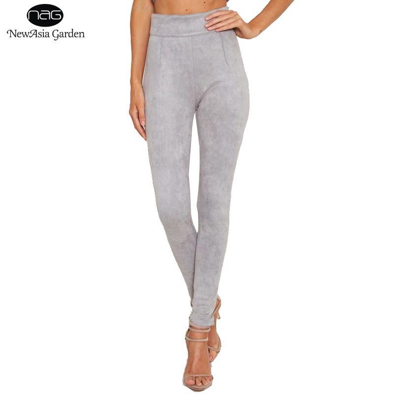 Femmes taille haute daim pantalon solide côté fermeture éclair pleine longue bonne élasticité automne hiver printemps Skinny pantalon S-L nouveau