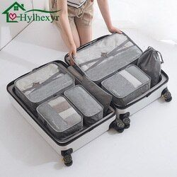 7 unid/set Oxford bolsa de almacenamiento de viaje ropa interior zapatos cosméticos acabado impermeable bolsa portátil organizador de armario cosmético