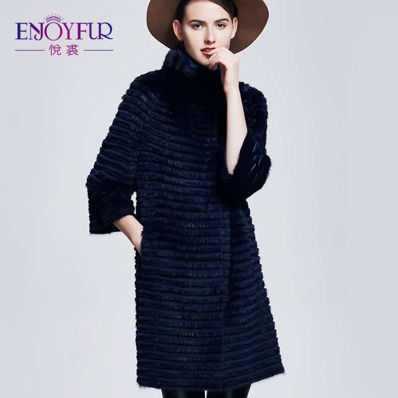 ENJOYFUR Women's Fur Coat Real Mink Coat Rex Rabbit Fur Jacket Coats Of Fur Knitted Warm Mink For Winter Women Coat