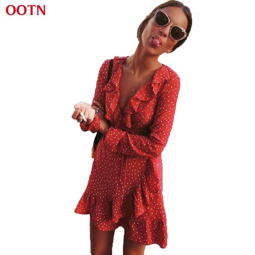 OOTN Ruffled Wrap Sun Dress Red Women Long Sleeve Mini Short <font><b>Stars</b></font> Dresses Vintage Tunic Female 2018 Summer Sexy Black Blue