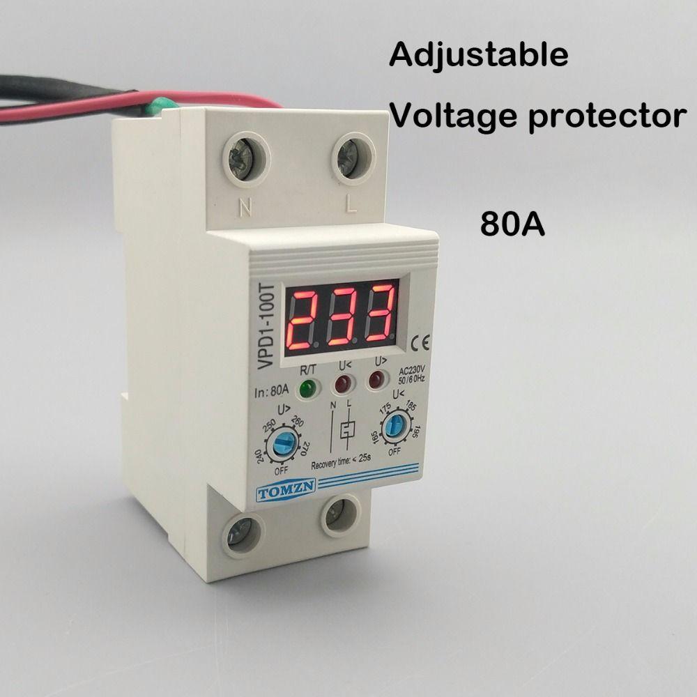 80A 220 V einstellbare automatische verbinden überspannung und unter überspannungsschutz-gerät relais mit Voltmeter spannung monitor