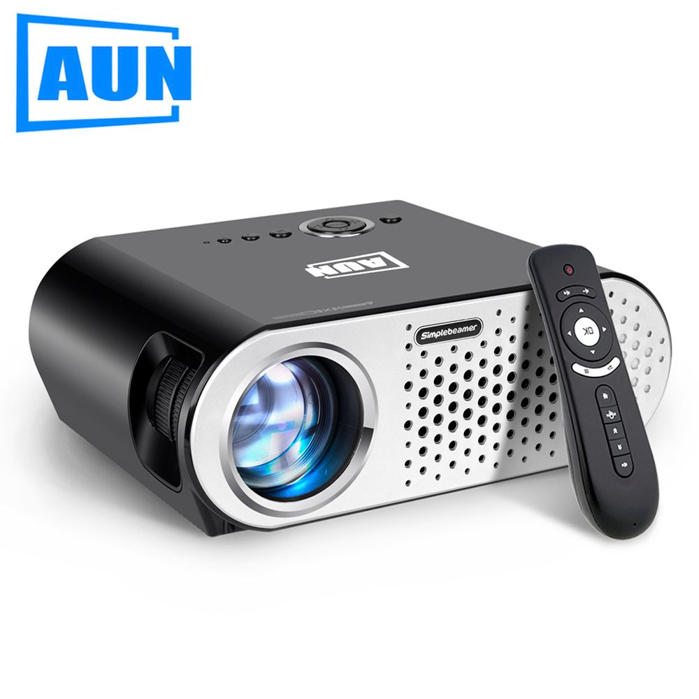 AUN Projector 3200 Lumen T90, 1280*768 (Optional <font><b>Android</b></font> Projector with 2.4G Air Mouse, Bluetooth WIFI, Support KODI AC3) LED TV