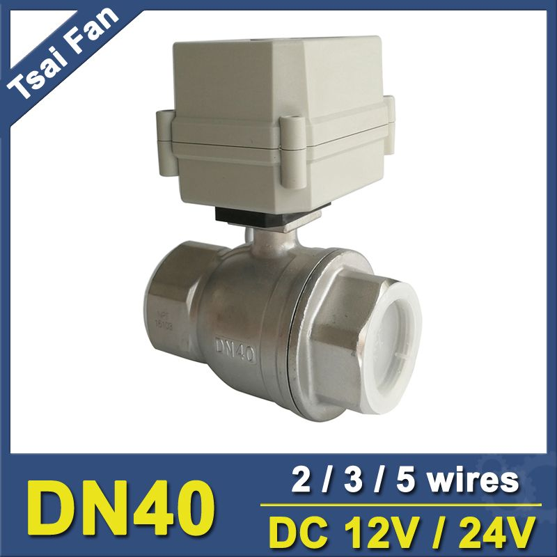 DC12V/24V Stainless Steel 304 1-1/2'' DN40 Full Port Actuated Ball Valve 2 Way Metal Gear IP67 For Water Control Application