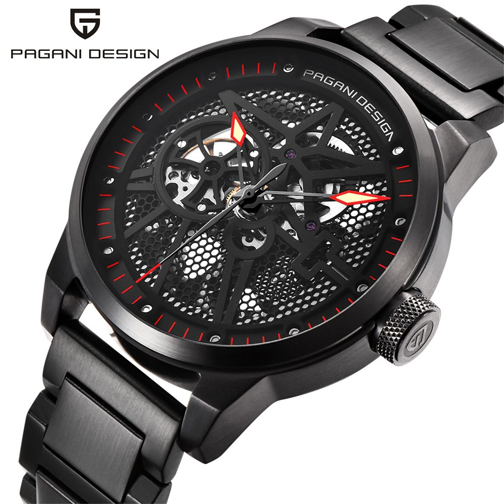 PAGANI DESIGN Men's Classic Stainless Steel Mechanical Watches Waterproof 30M mens watches top luxury Hollow Automatic Watch