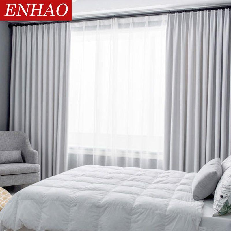 ENHAO moderne rideaux occultants pour salon chambre fenêtre rideaux pour solide épais rideaux tissu rideaux aveugles sur mesure