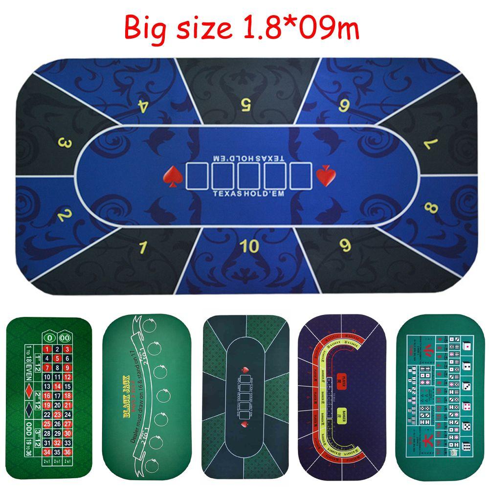 Grande taille 1.8*0.9 mTexas Hold'em Poker Noir Jack Roulette Baccarat dés Paris tapis en caoutchouc Jeu gaming pad