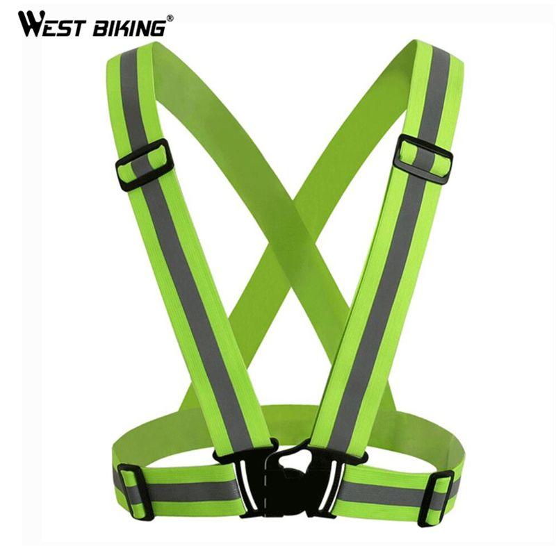 WEST BIKING Unisex Reflective Cycling Vest Jersey Safety Warning Safety Fluorescence Night Clothes V-shaped Reflective Vests