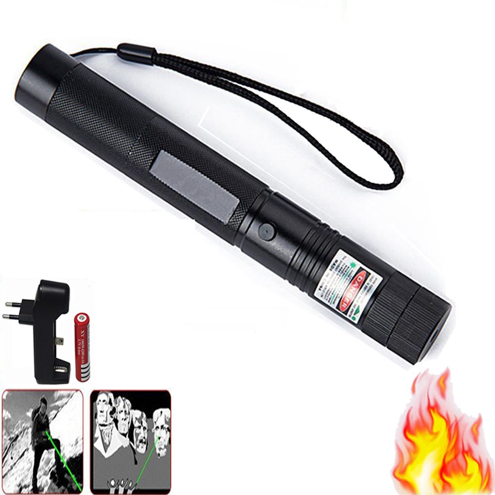Vert Visée Laser CNC Lasers Pointeur Puissant dispositif 10000 m Mise Au Point Réglable Lazer avec Capuchon Étoiles + Chargeur + 18650 batterie
