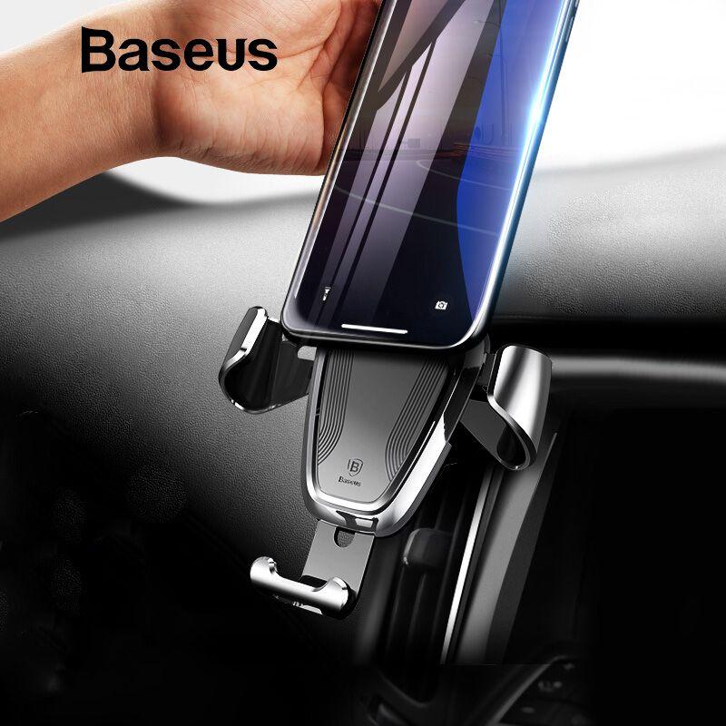 Support pour voiture Baseus gravité pour iPhone Samsung support pour téléphone portable 360 degrés GPS pince de montage pour évent support pour téléphone