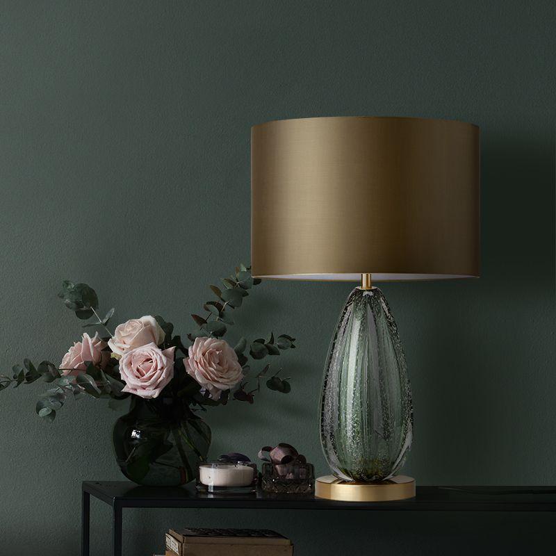 Ditoon Postmodernen Led Tisch Lampe Designer'S Beleuchtung Nacht Schlafzimmer Eisen Lichter Glas Tuch Form Leuchte Grau Grün Glanz