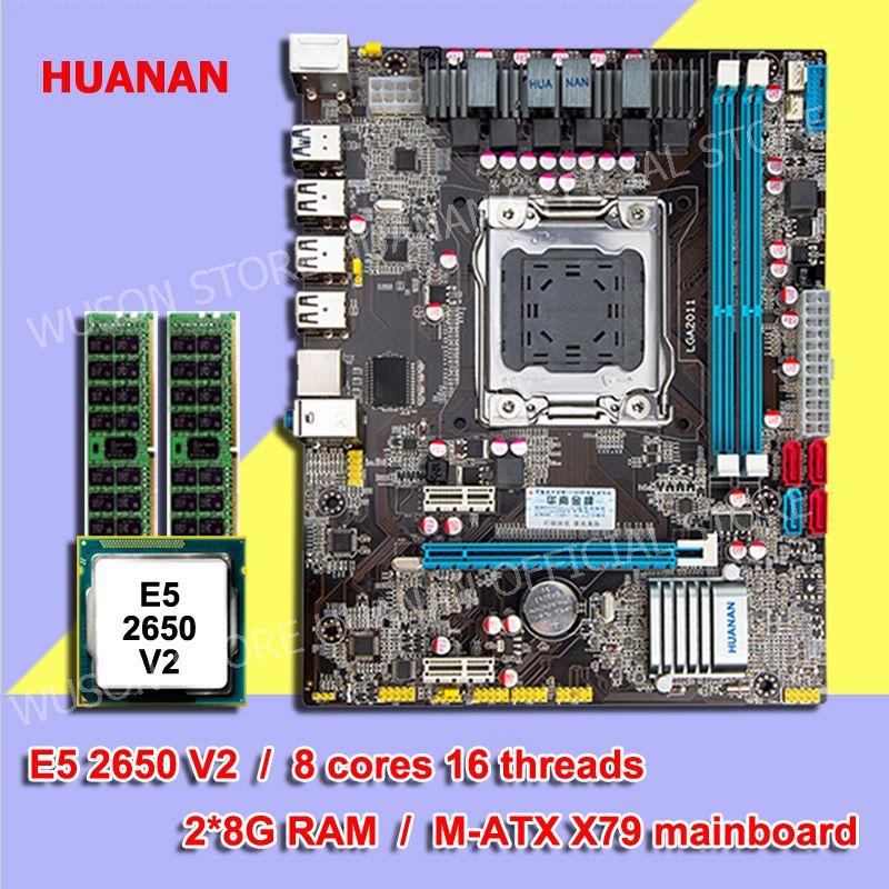 Heißer HUANAN ZHI Micro-ATX X79 motherboard CPU speicher combos LGA2011 motherboard CPU Intel E5 2650 V2 RAM 2 * 8G DDR3 1600 REG ECC