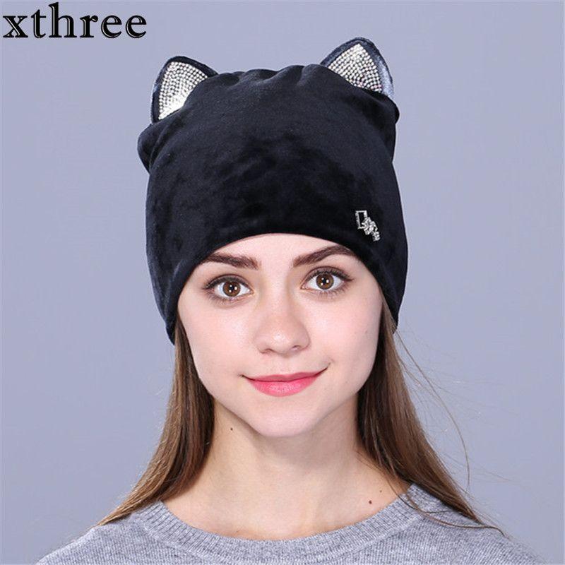 Xthree байковые женщины на осень-зиму шляпа милый котенок дети шапочки Hat для девочек Skullies Gorras