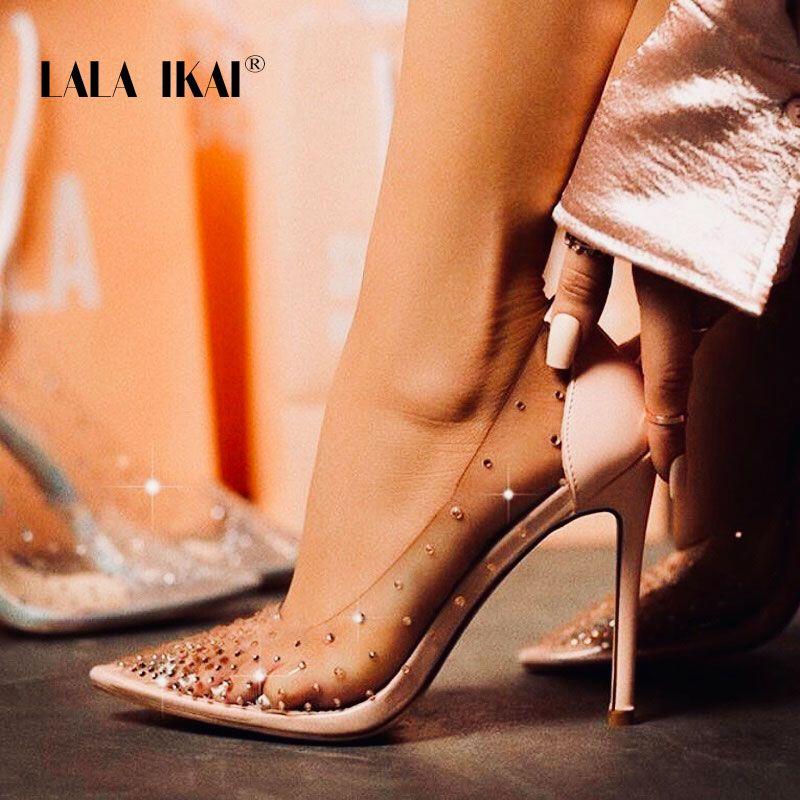 LALA IKAI strass femmes pompes Chaussures de mariage printemps été talons hauts PVC Sexy Chaussures de fête Chaussures Femme 014C3721-4