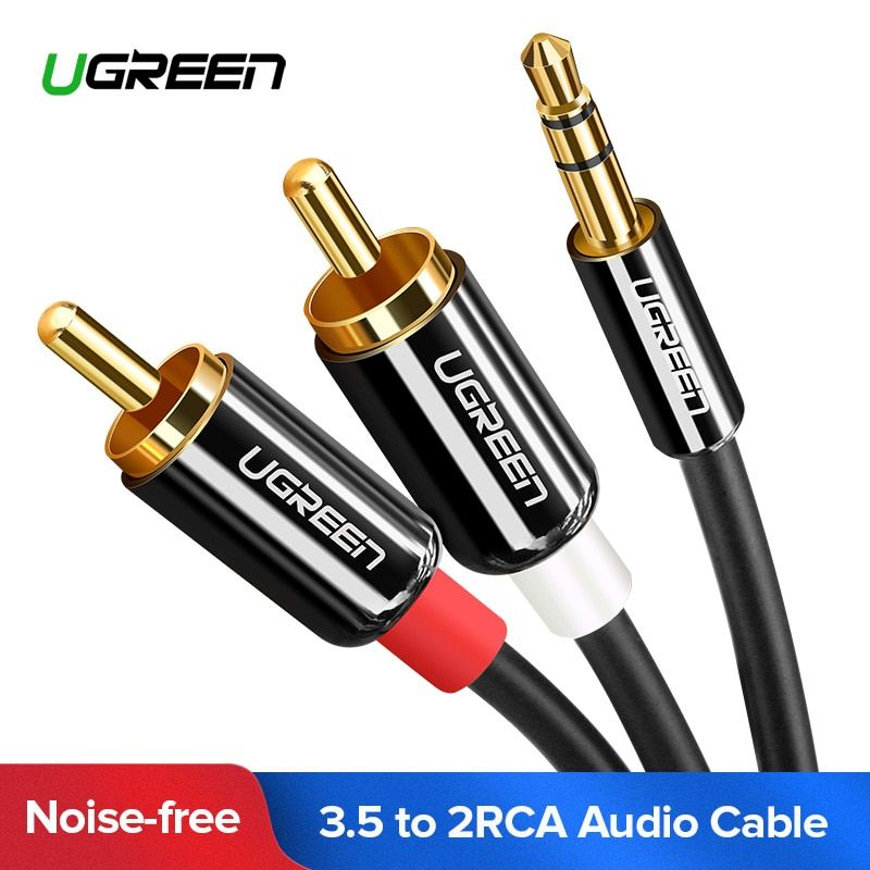 Ugreen RCA Cable 2RCA to 3.5 Audio Cable RCA 3.5mm Jack RCA AUX Cable for DJ Amplifiers Subwoofer Audio Mixer Home Theater DVD