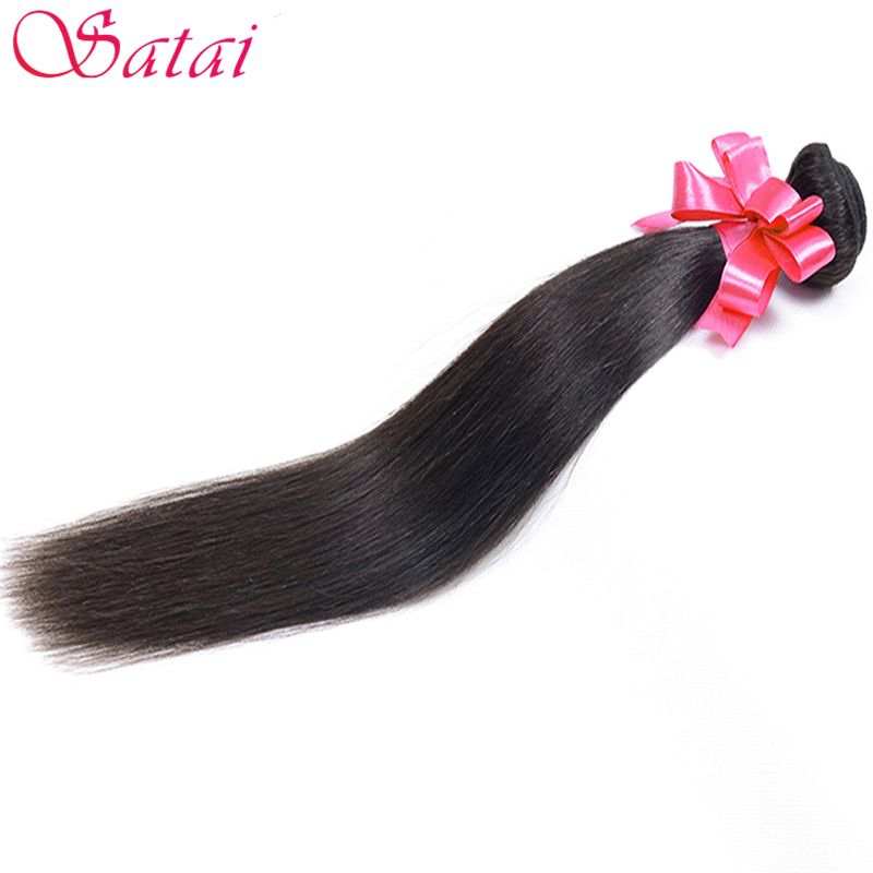 Satai Hair Brazilian Straight <font><b>Human</b></font> Hair Bundles 1Pc Natural Color 8-28inch Brazilian Hair Weave Bundles Non Remy Hair Extension
